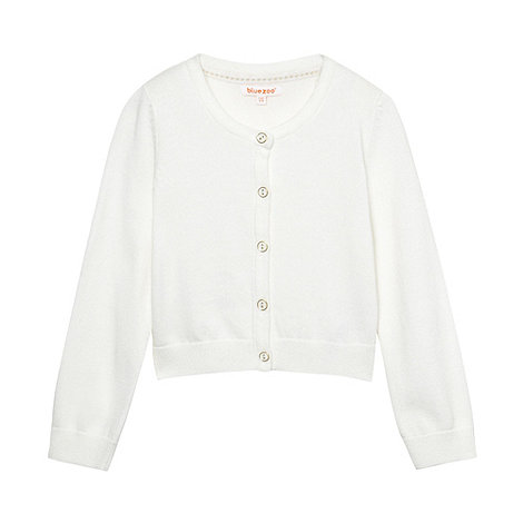 bluezoo - Girl+s white crew neck cardigan
