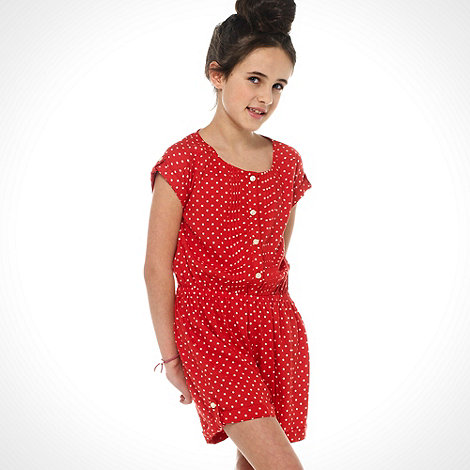 bluezoo - Girl+s red short sleeved star print playsuit