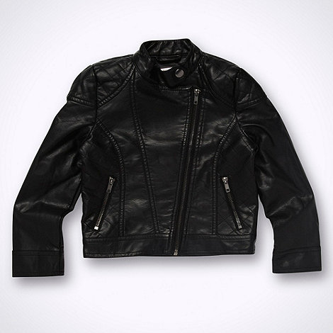 bluezoo - Girl+s black faux leather biker jacket