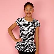 Girl's black zebra peplum hem top
