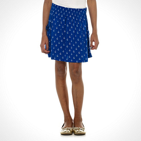 bluezoo - Girl's blue anchor printed skirt