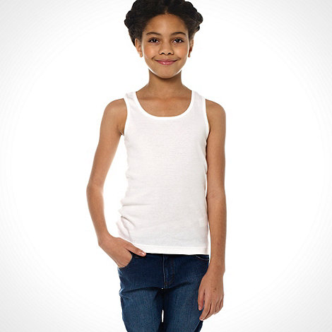 bluezoo - Girl+s pack of three yellow white and royal blue vests
