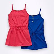 Girl's pink dress and bright blue playsuit set