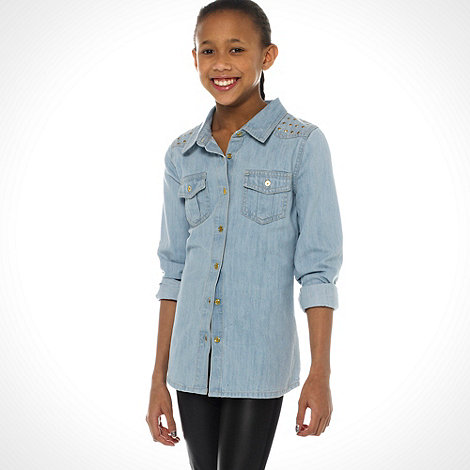 bluezoo - Girl+s blue sequinned shoulders denim shirt