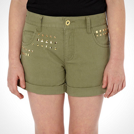 bluezoo - Girl+s khaki studded shorts