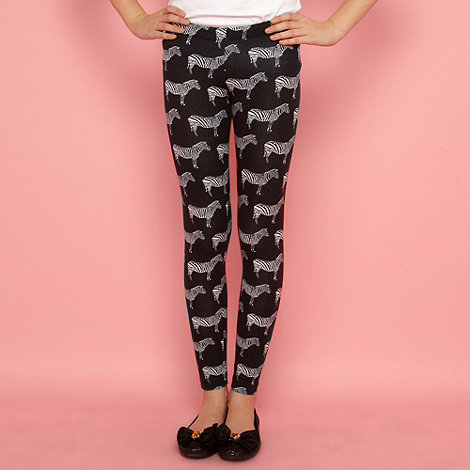 bluezoo - Girl+s black zebra printed leggings