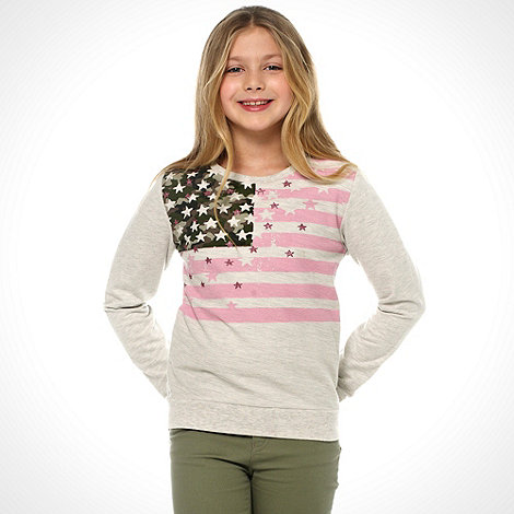 bluezoo - Girl+s natural camouflage flag sweat top