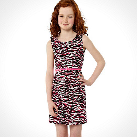 bluezoo - Girls pink animal print skater dress