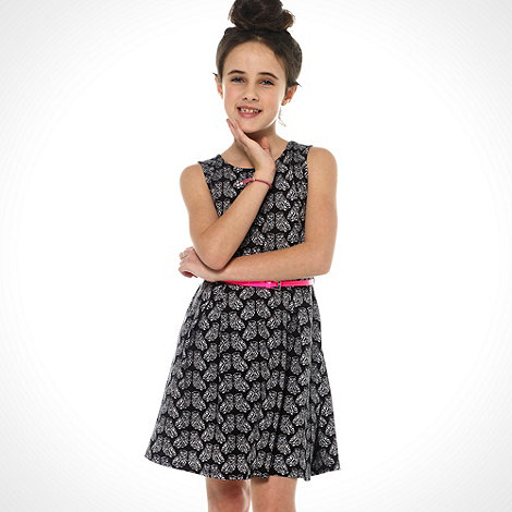 bluezoo - Girl+s black all over owl print skater dress
