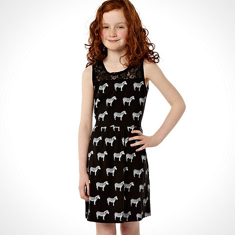 bluezoo - Girl's black zebra printed lace trimmed skater dress