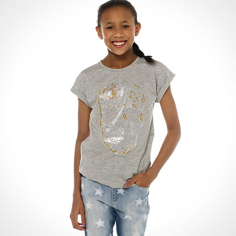 bluezoo - Girl's grey studded skull t-shirt
