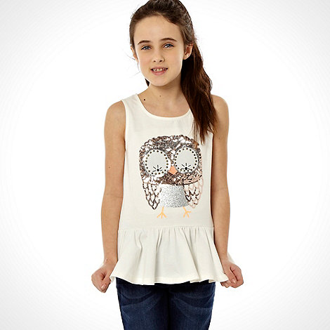 bluezoo - Cream studded owl peplum top