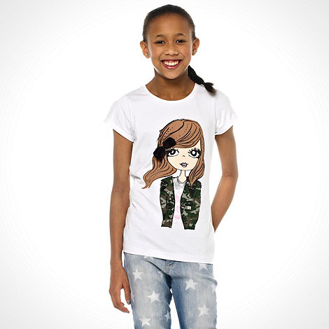 bluezoo - Girl+s white military girl motif t-shirt