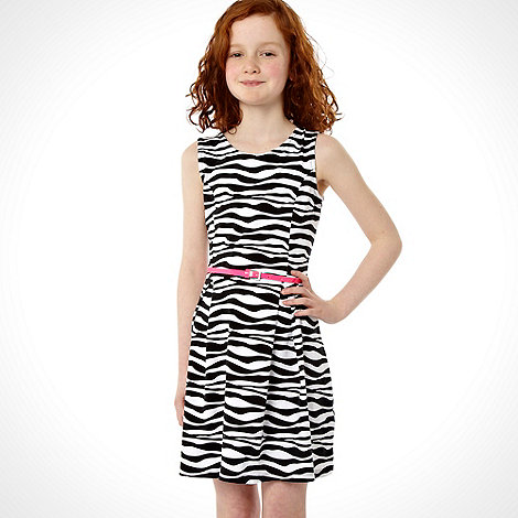 bluezoo - Girl+s black zebra striped jersey skater dress