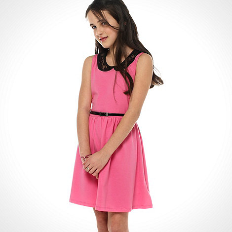 bluezoo - Girl+s pink embroidered collar skater dress