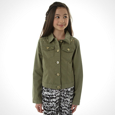 bluezoo - Girl+s khaki studded denim jacket