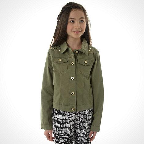 bluezoo - Girl+s khaki studded denim jacket