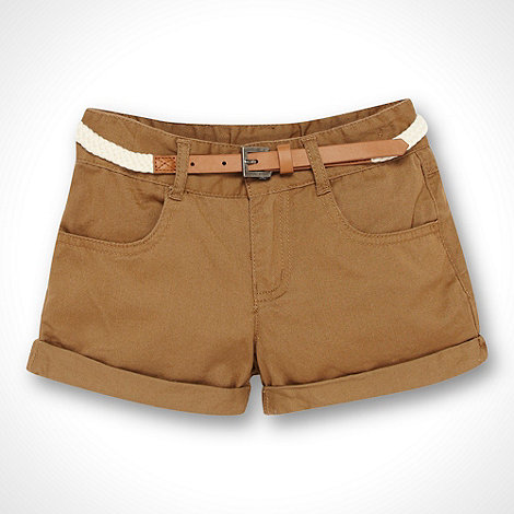 bluezoo - Girl+s brown belted twill shorts