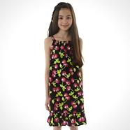 Girl's black cherry printed dress