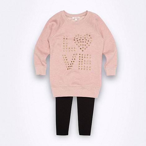 bluezoo - Girl's studded love sweat top & legging set