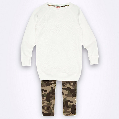 bluezoo - Girl+s lace front sweat top & camo legging set