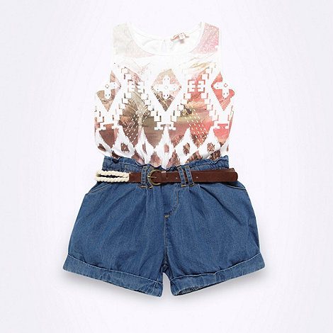 bluezoo - Girl+s white aztec printed playsuit