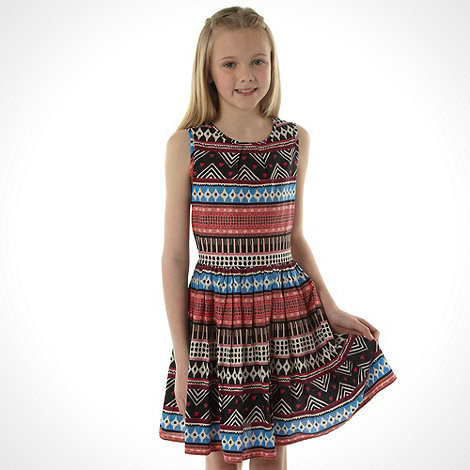 bluezoo - Girl+s multi aztec printed skater dress