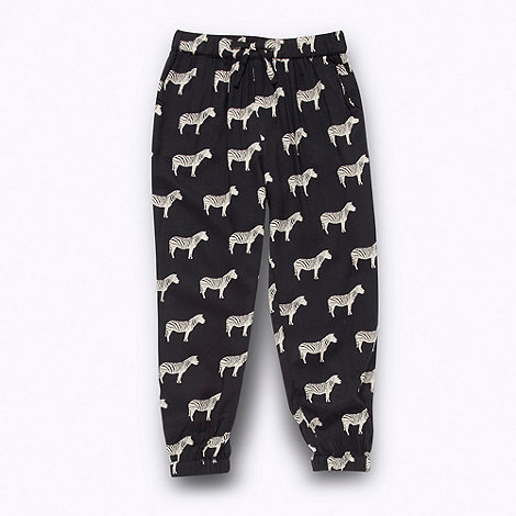 bluezoo - Girl+s black woven zebra trousers