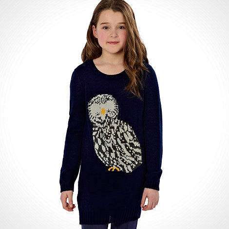 bluezoo - Girl+s navy studded owl jumper
