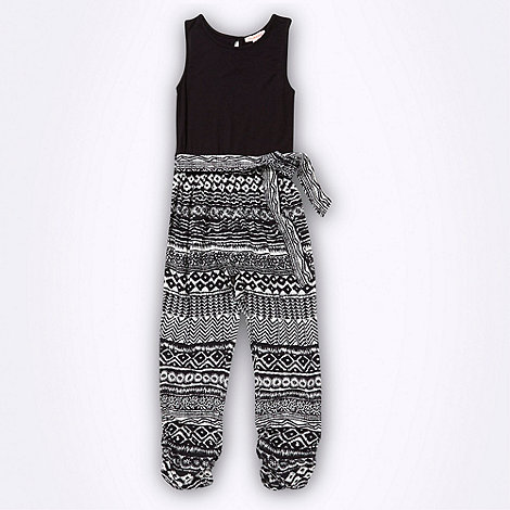 bluezoo - Girl+s black tribal printed jumpsuit