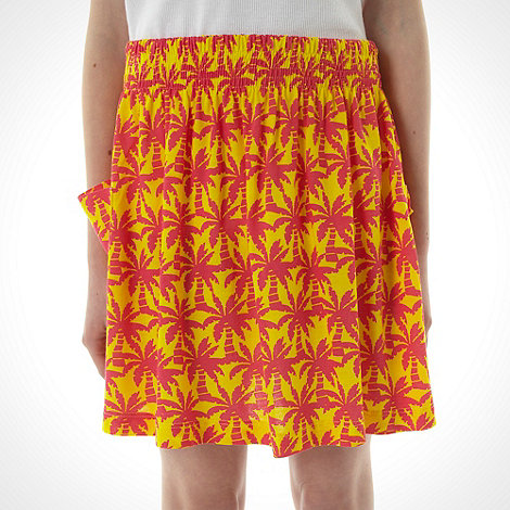 bluezoo - Girl's orange palm tree printed skirt