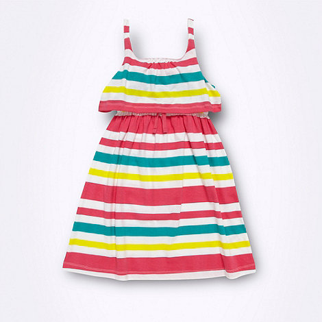 bluezoo - Girl+s white striped tiered jersey dress