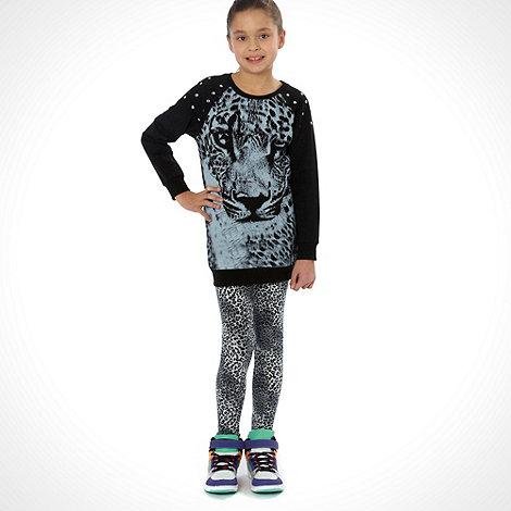 bluezoo - Girl's tiger head sweat top & animal prink leggings
