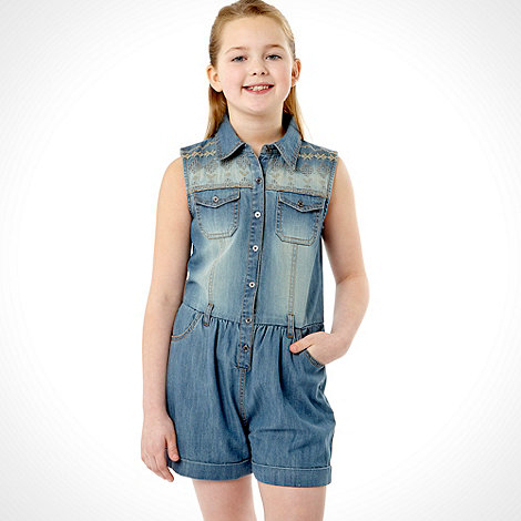 bluezoo - Girl+s blue denim playsuit