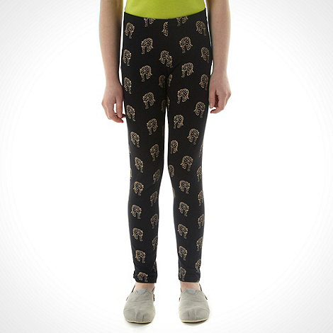 bluezoo - Girl+s black leopard printed leggings