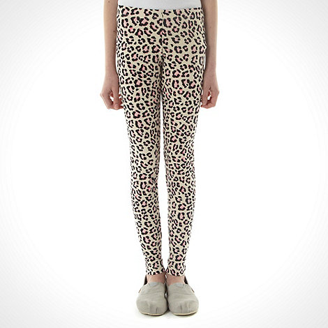 bluezoo - Girl+s beige animal spots printed leggings