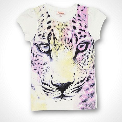 bluezoo - Girl+s white graphic tiger t-shirt