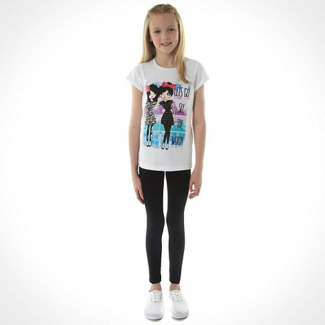 bluezoo - Girl+s white +See the World+ slogan t-shirt and leggings set