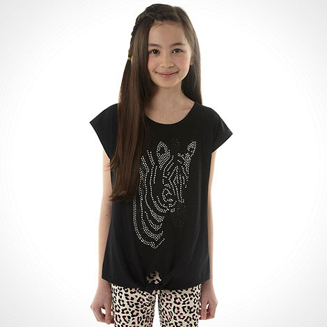 bluezoo - Girl+s black cap sleeved zebra studded top