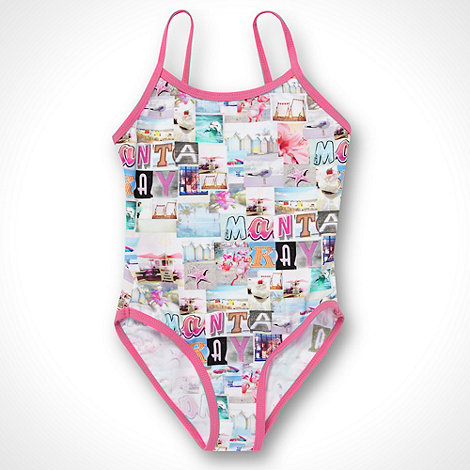 Mantaray - Girl+s pink photographic beach collage swimsuit