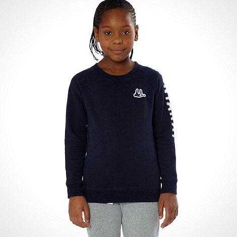 Mantaray - Girl+s navy branded crew sweater