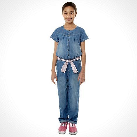 Mantaray - Girl+s blue chambray jumpsuit