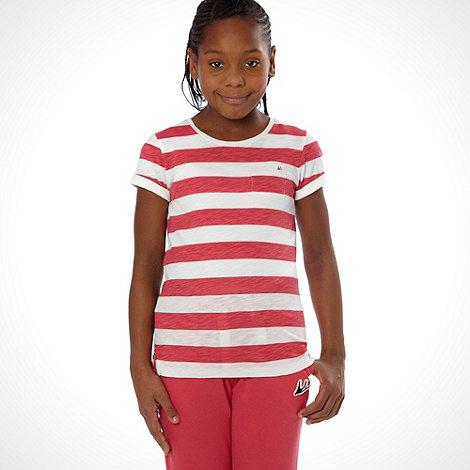 Mantaray - Girl+s red striped slub t-shirt