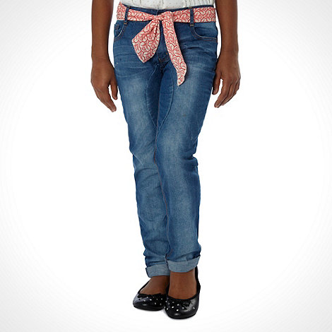 Mantaray - Girl+s blue boyfriend jeans and scarf belt