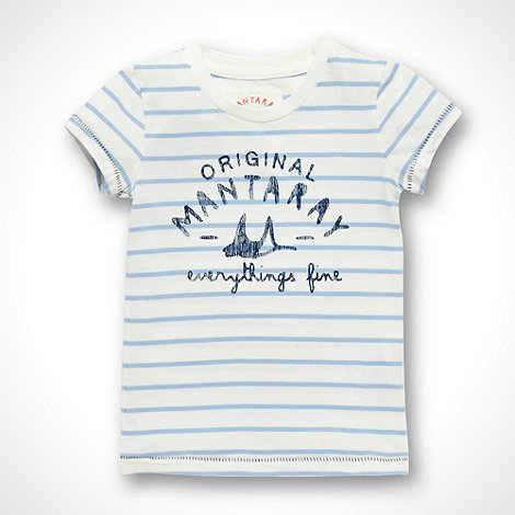 Mantaray - Girl+s cream striped faded logo t-shirt