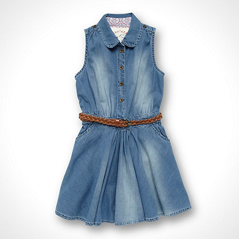 Mantaray - Girl+s blue chambray belted shirt dress