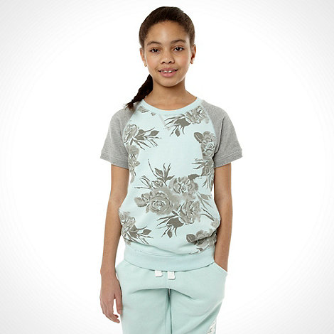 Mantaray - Girl+s aqua floral sweatshirt
