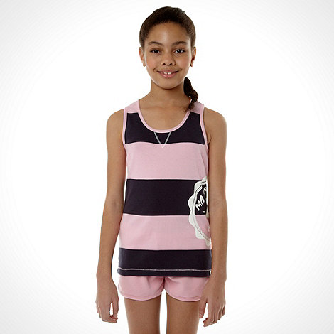 Mantaray - Girl+s pink block striped vest