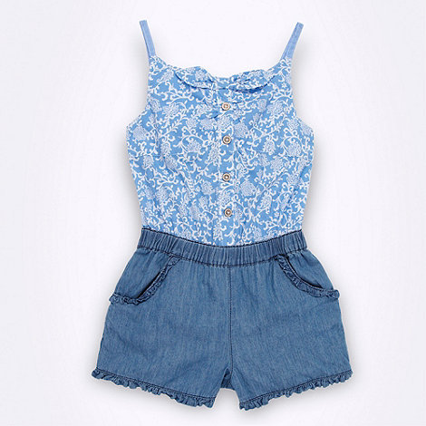 Mantaray - Girl+s blue floral playsuit
