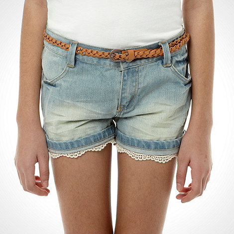 Mantaray - Girl+s blue denim belted shorts